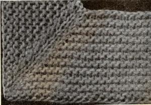 Угол вязанный диагонально